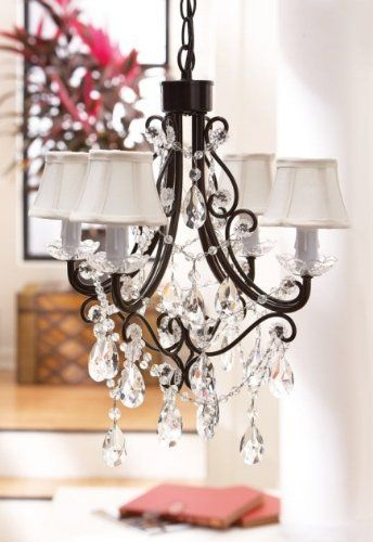 Country Sheek Lighting Chandelier With Black Frame And Clear Dangles Design Shabby Chic Chandelier Small Chandelier Shabby Chic Girls Bedroom