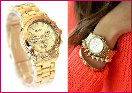 Zegarek Zloty Luxury Geneva Bransoleta Damski Gold Watch Accessories Jewelry