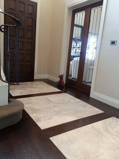 Front Entry With Hardwood Floor And Tile Entryway Tile Foyer