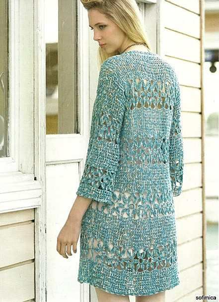 Crochet Longline Cardigan/Jacket - diagrams only pattern, there are a few other patterns here too (diagrams)