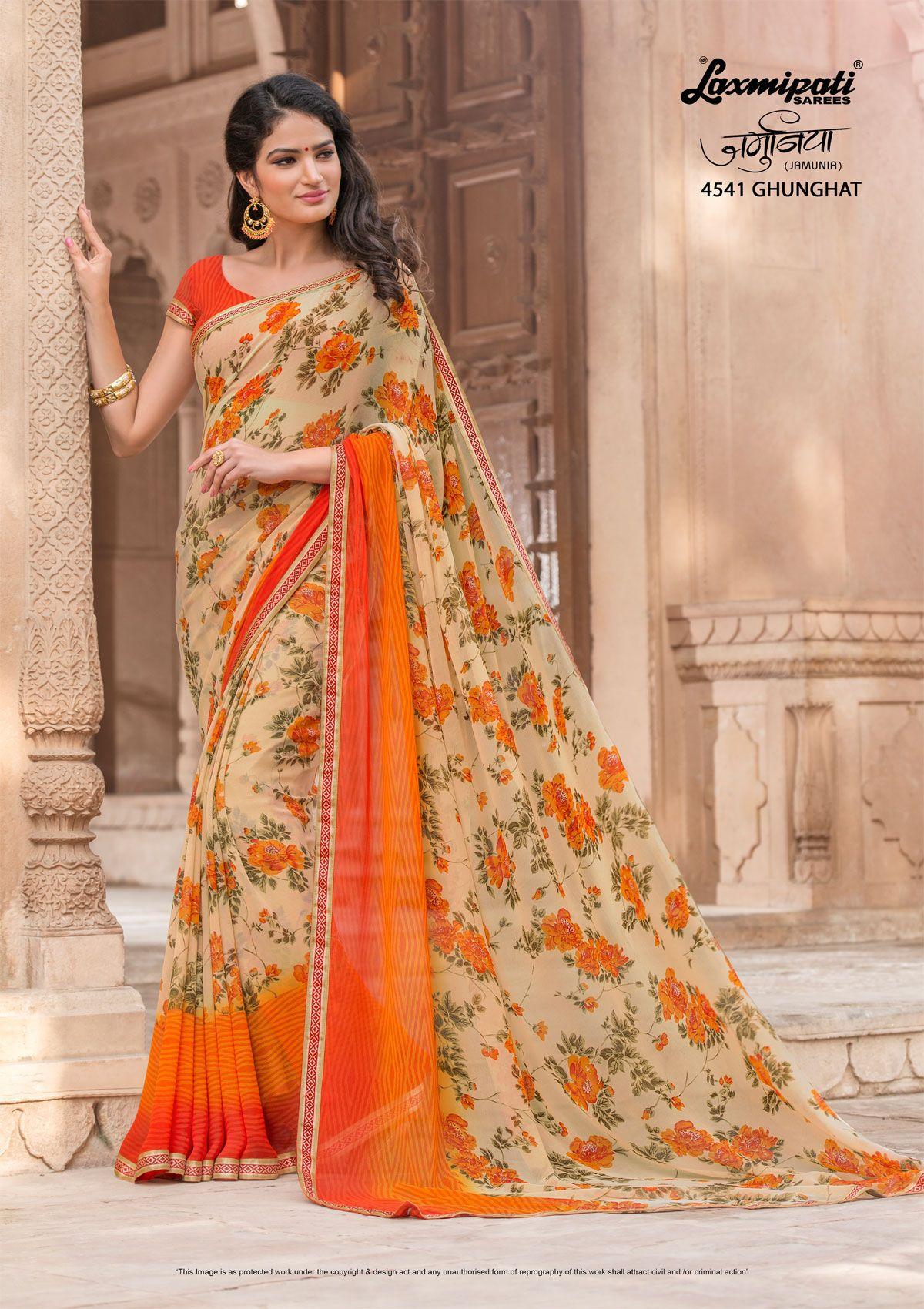 b4adbaa5e3d Buy this Scenic Multicolor Georgette Printed Saree and Orange Rawsilk Blouse  along with Rawsilk Lace Border