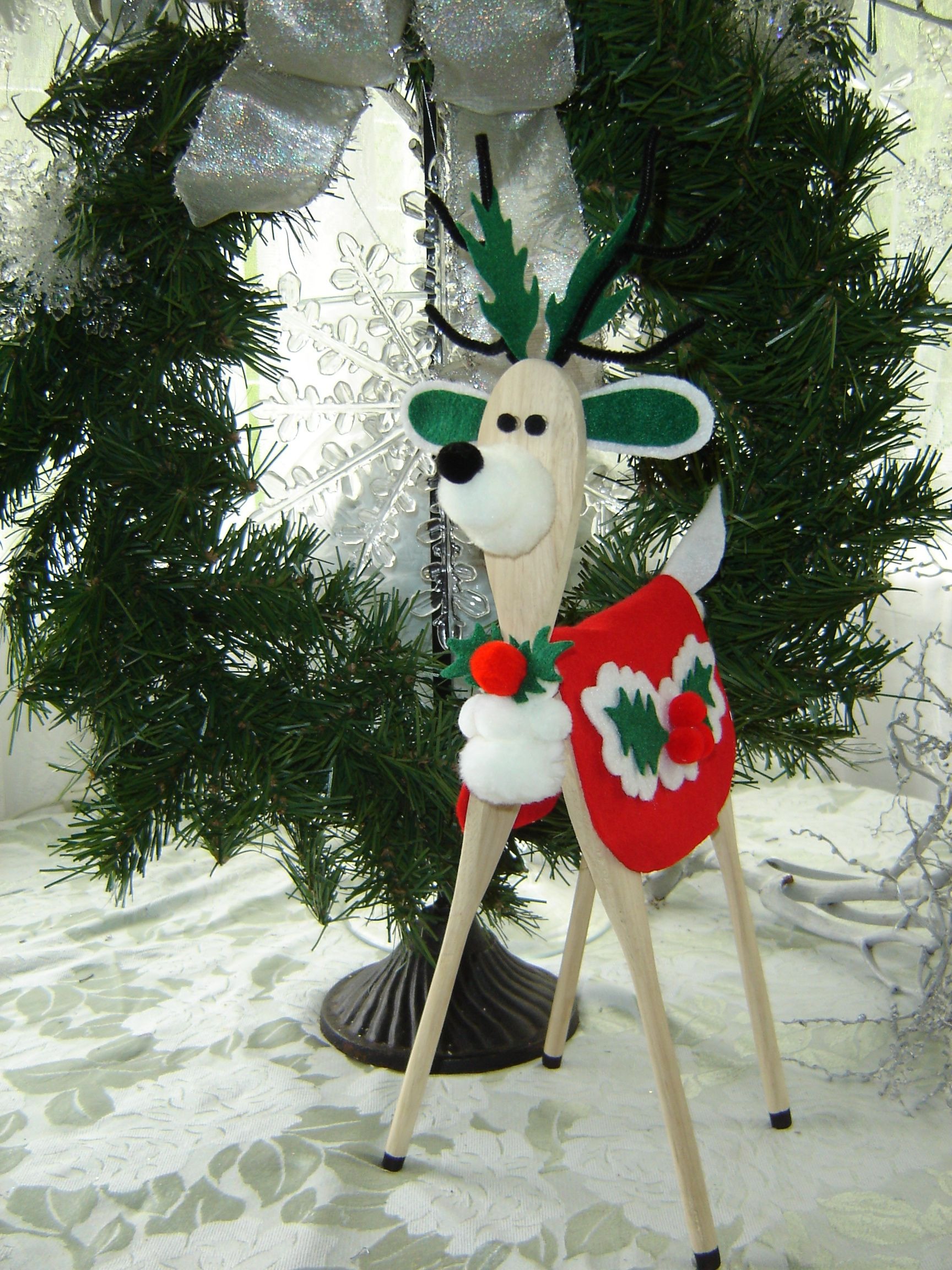 Handmade wooden spoon reindeer
