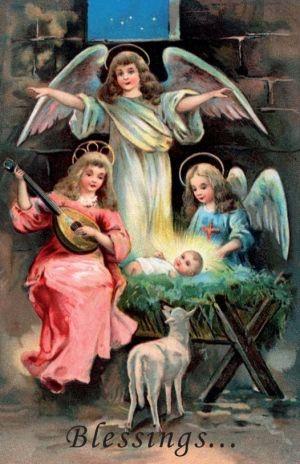Printable Catholic Christmas Cards: Angels and Baby Jesus. Jesus ...