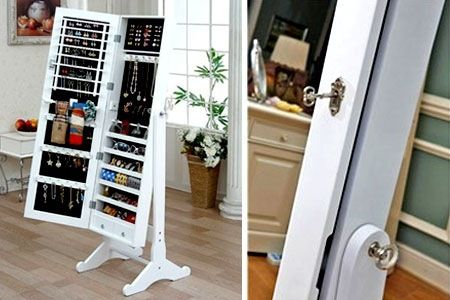 Langria Free Standing Lockable Full Length Mirrored Jewellery Cabinet  Armoire For Rings Earrings Bracelets Broaches White - Full Length Jewelry Mirror Cabinet Bar Cabinet