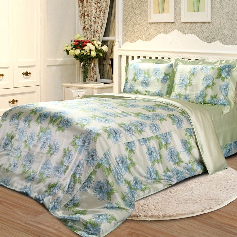Blue Green and Beige Country Style Floral 100