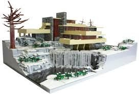 Lego winter. Frozen waterfall, bare trees ,and buildings