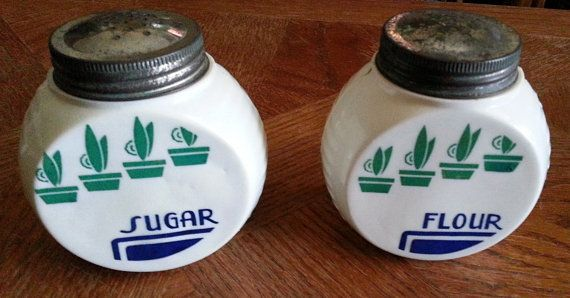 Never Have Enough... Salt and Pepper Shakers! 1940's Vintage Fire King Vitrock Sugar and by Midcenturyorbust