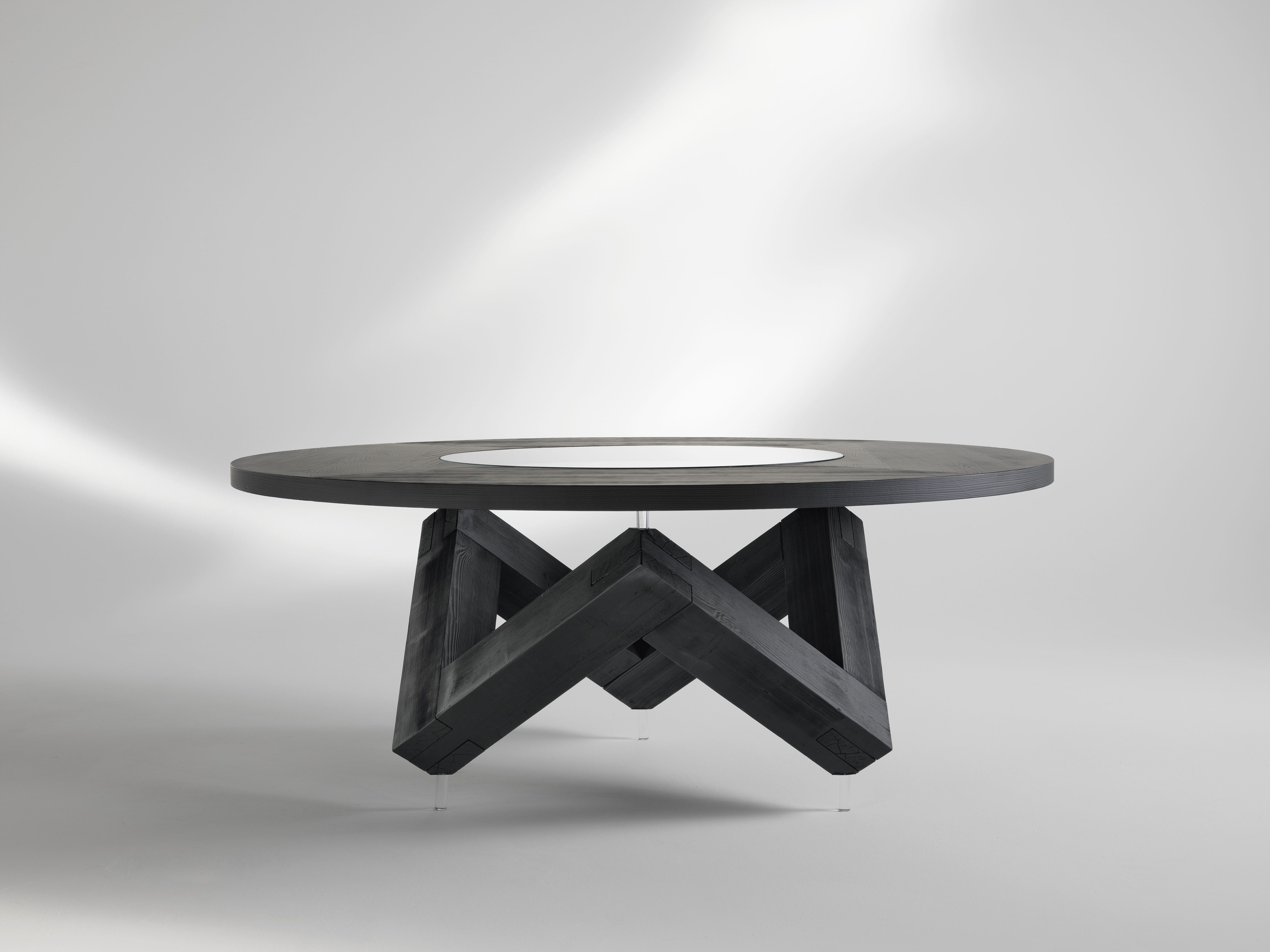 Tavolo Rotondo Moderno In Vetro.Tavolo Da Pranzo Tondo In Legno Con Piano Girevole In Vetro Bao