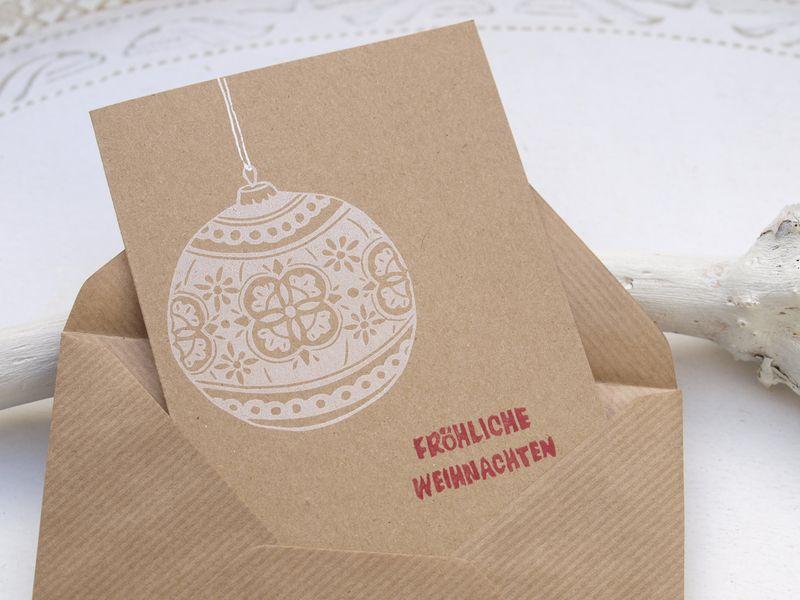 handbestempelte karte umschlag weihnachtsgru von stampelart auf