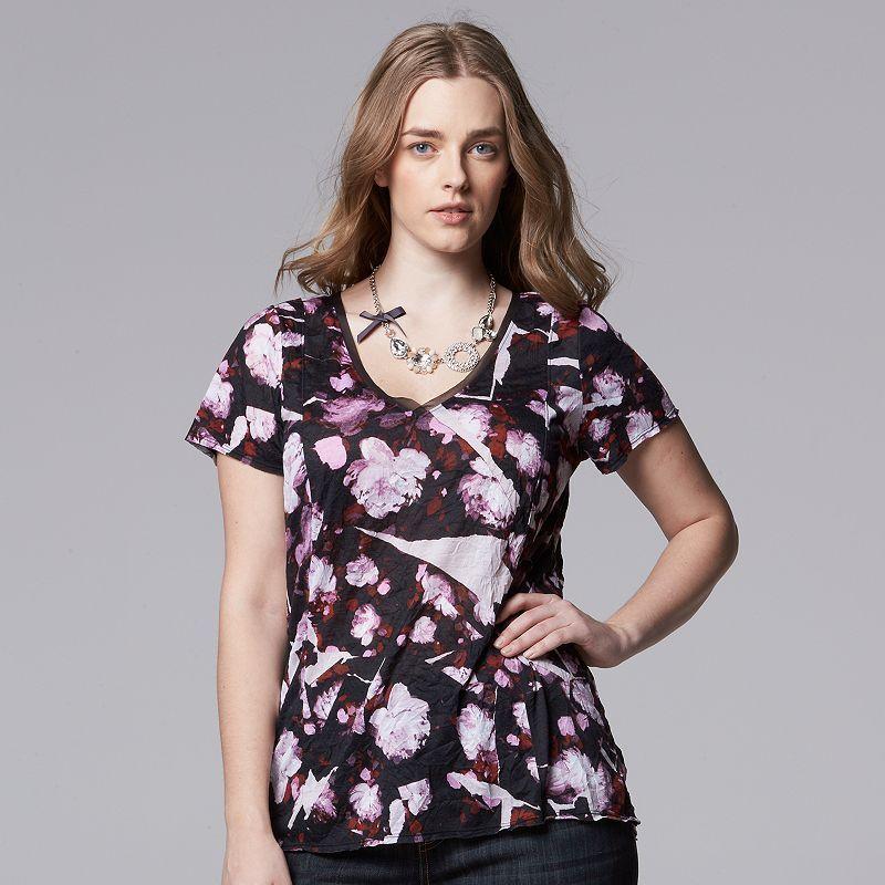 e1d4cb58180 Plus Size Simply Vera Vera Wang Crinkle Tee