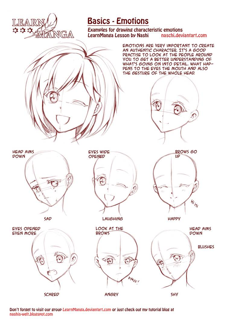 Learn Manga Emotions By Naschi On Deviantart Anime Face Drawing Anime Drawings Drawing Tutorial