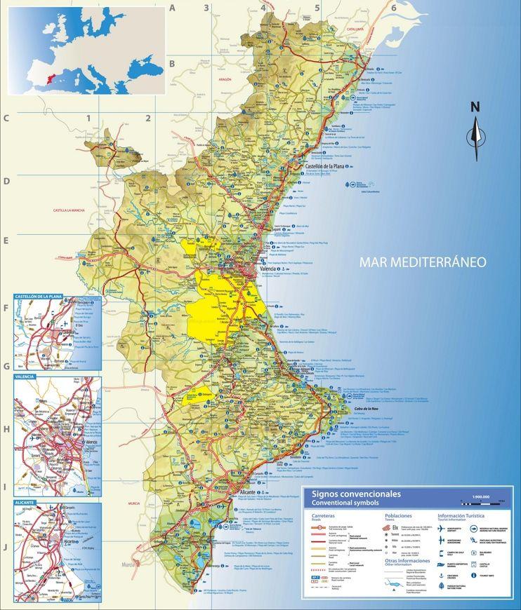 Mapa De Valencia España Comunidad Valenciana.Valencian Community Travel Map Comunidad Valenciana Y