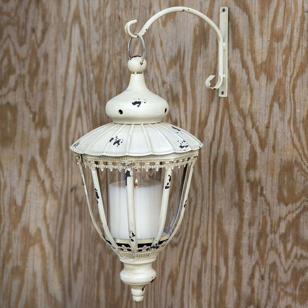 Distressed White Hanging Candle Lantern W Bracket Metal Farmhouse Wedding Decor Unbranded Fre Hanging Candle Lanterns Candle Lanterns Lantern Candle Holders