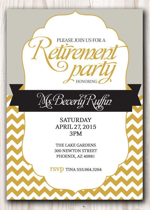 Retirement Party Invitation Gold And Silver Or By Scripturewallart