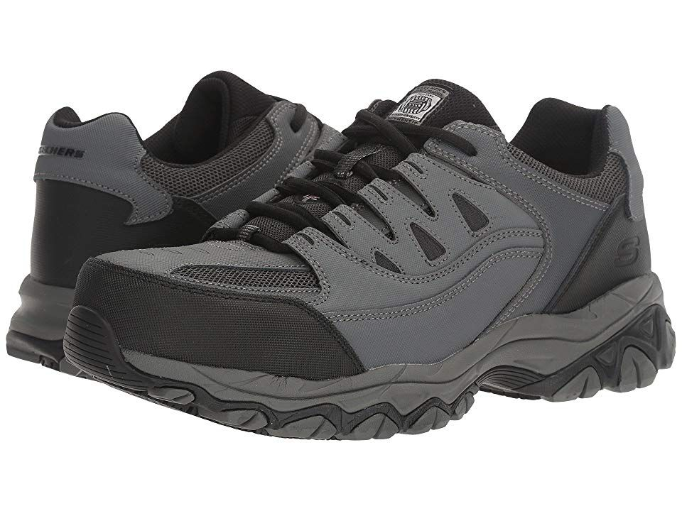 Skechers Work Holdredge Men S Shoes Gray Action Leather Trim