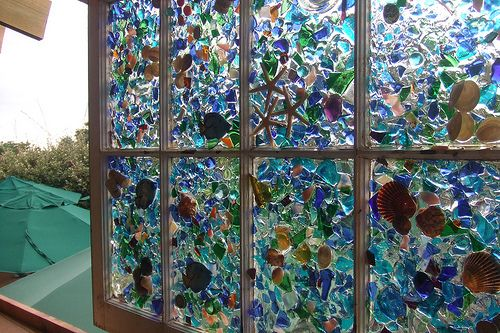 Sea glass and sea shell window art window art shell and for Broken glass art projects