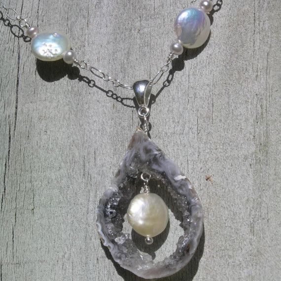 Pearls ROCK  Coin Pearl Crystal Quartz Geode Slice by lakreations