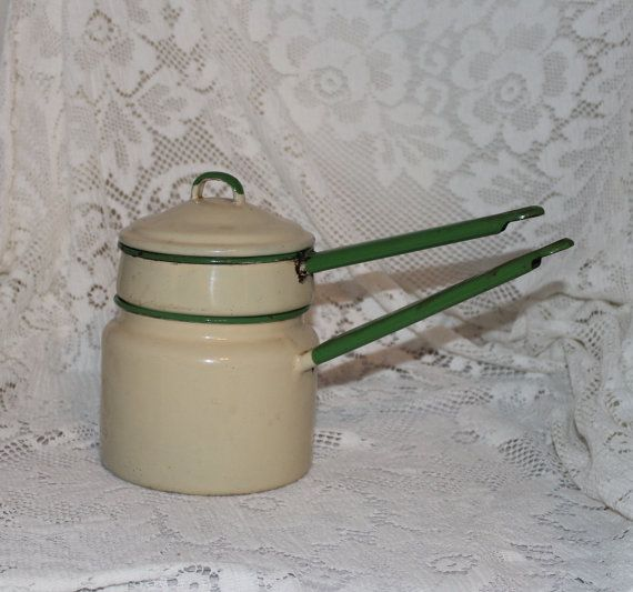 Enamelware granitware double boiler green and tan by prettydish, $12.00