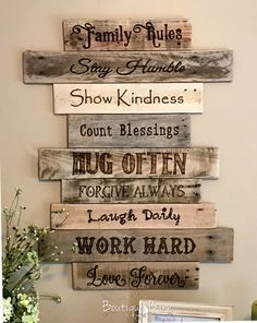 family rules signwood signfamily artrustic wall home wood family rules