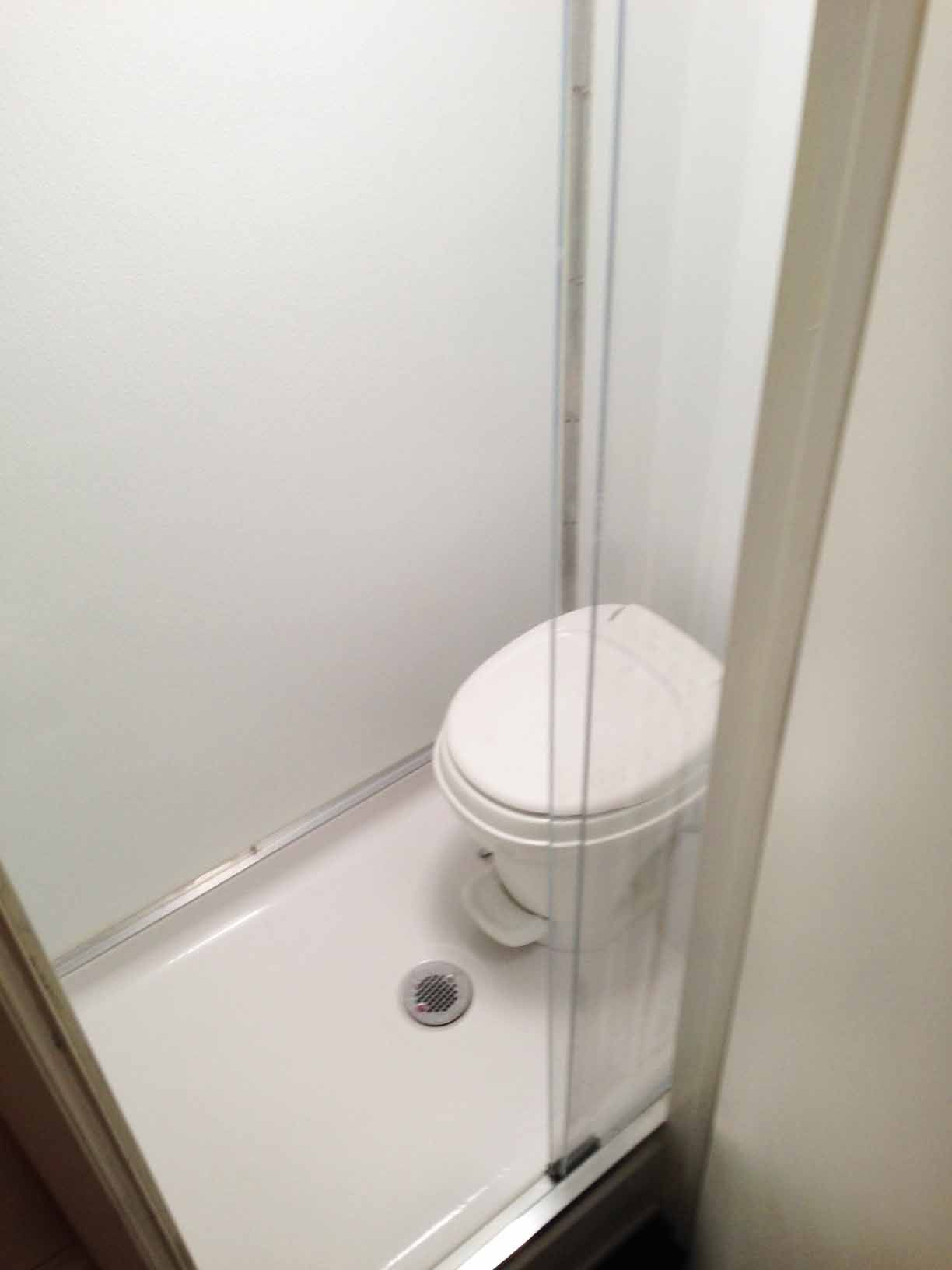 Cargo Conversion Shower Toilet Combo With Plexi Glass