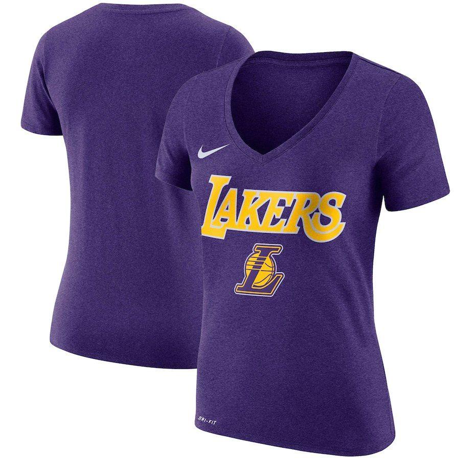 37d4a1156d4 Women s Los Angeles Lakers Nike Purple Wordmark V-Neck T-Shirt