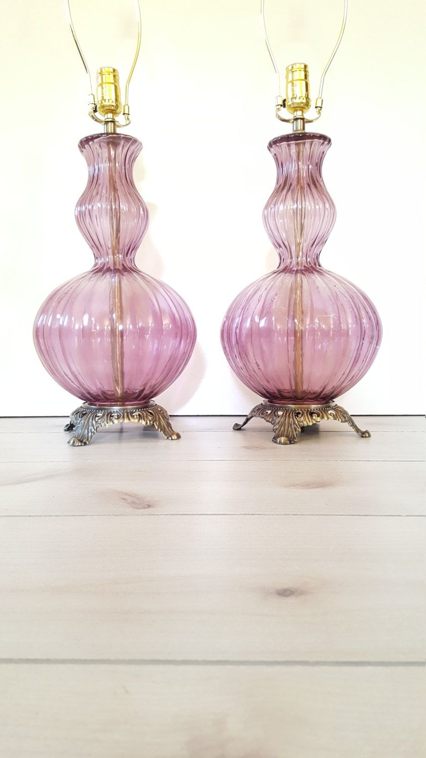 Purple glass lamps large pair vintage ribbed glass purple table purple glass lamps large pair vintage ribbed glass purple table lamps geotapseo Gallery