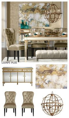 Dress Up Your Dining Room With The Luxe Of Gorgeous Gold Accents, A  Statement Globe Light Fixture, A Chic Mirrored Dining Table + Buffet   Tied  Together ...