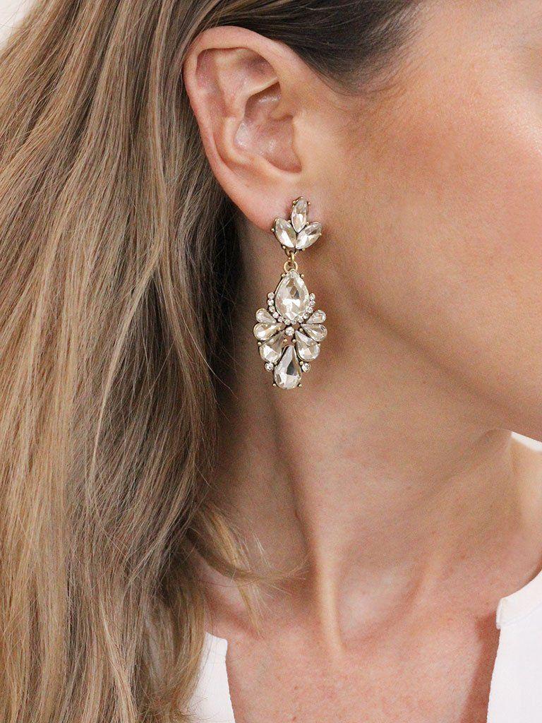 Multi statement earrings Women/'s fashion UK Diamante crystal drop earrings