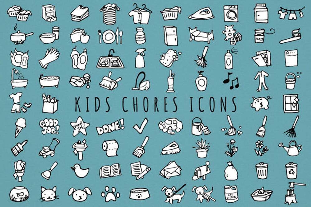 Kids Chores Icons Set [Black & White Version] daily
