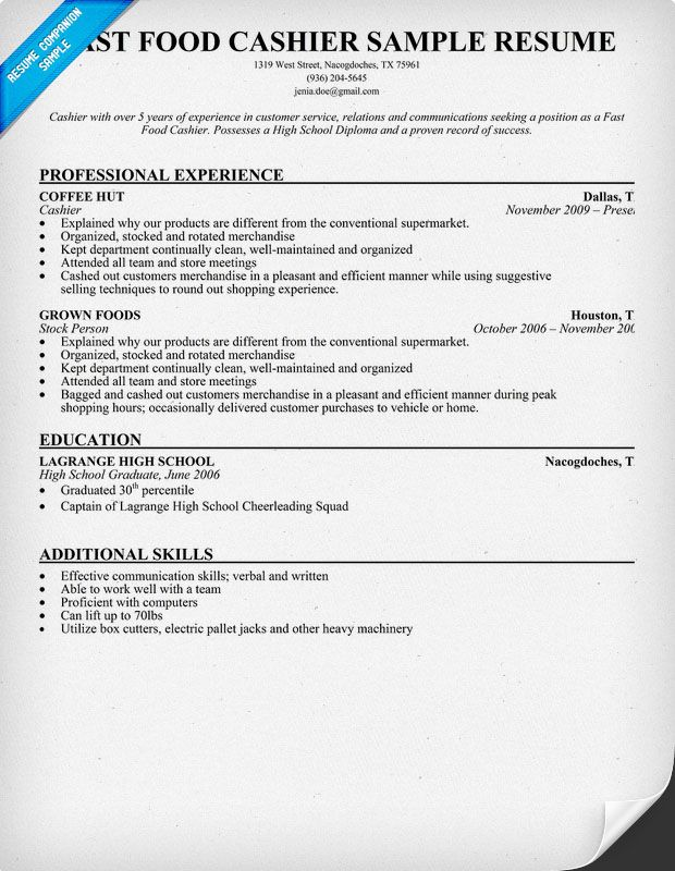 Cashier Resume Examples Fast #food Cashier Resume Sample Resumecompanion  Resume