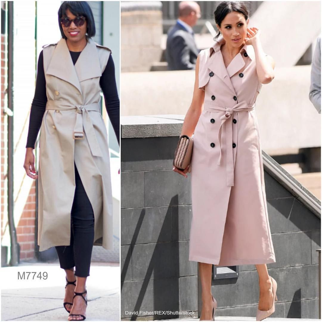 Sew Meghan Markle s trench dress look with  m7749 by  beautejadore. Look  for cotton blends f9456ab5006