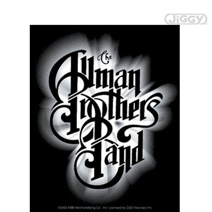 Allman brothers band glow logo sticker features a large version of the bands name logo surrounded