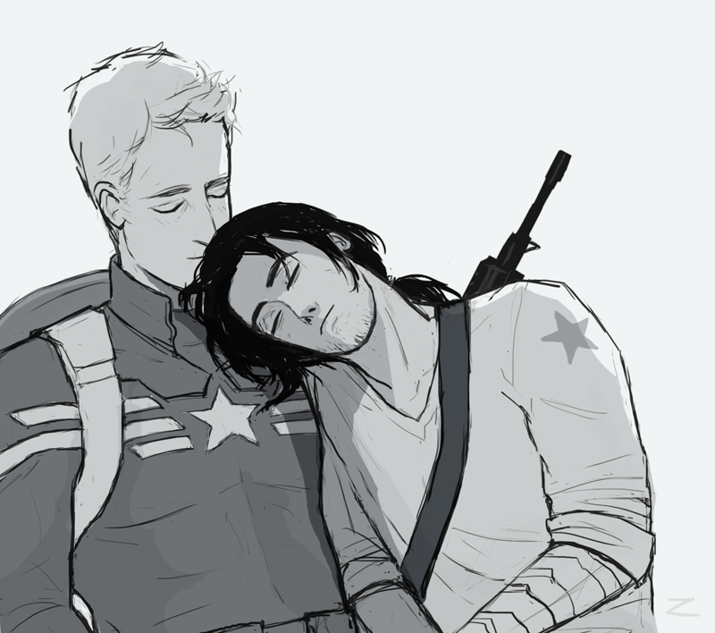 Bucky falls asleep on Steve's chest fanart by zhaana | STUCKY FEELS