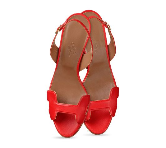 bd3c97bd3 Night 70 Hermes ladies  sandal in orange red nappa leather with tone on  tone stitching and hazelnut lining. Measurement  1 4