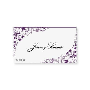 Instant Download Wedding Place Card Template Chic Bouquet Plum Foldover Microsoft W Place Card Template Wedding Place Card Templates Wedding Name Cards