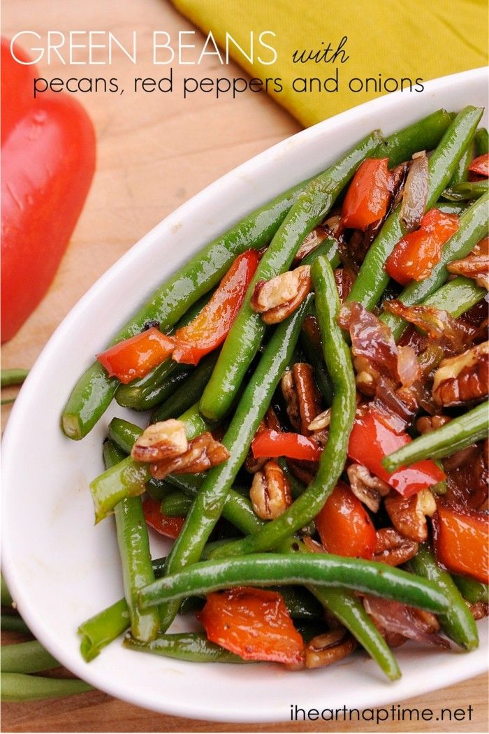 Green Beans With Pecans Red Peppers And Onions Recipe Food