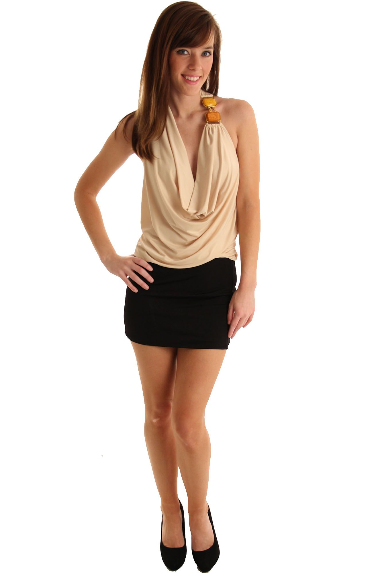 Cream black sassy plunged rhinestone micro halter dress purchase now