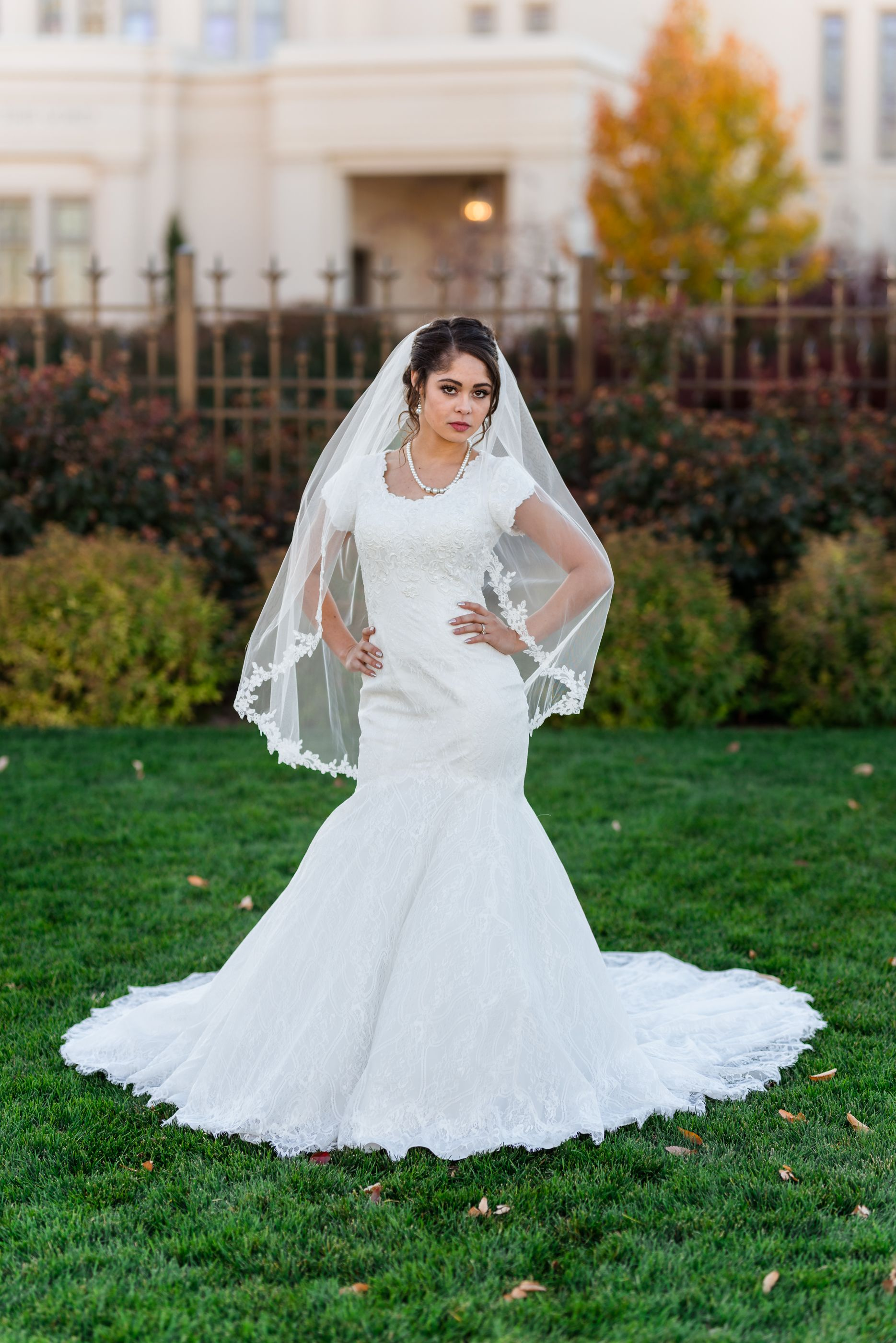 Bridal portraits just outside of the payson ut lds temple