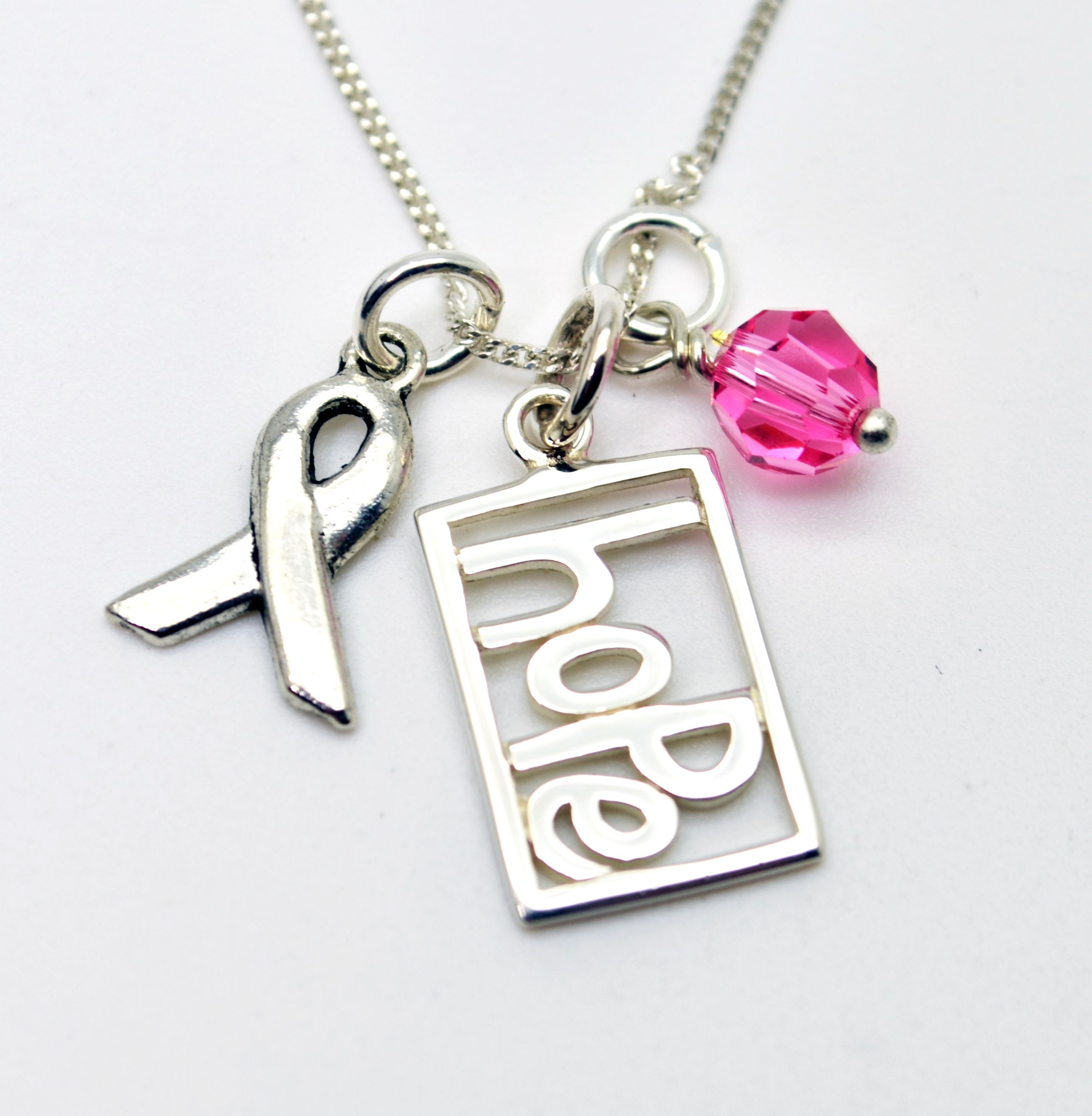 Hope Necklace:: Breast Cancer Awareness Hope Necklace - Personalized Jewelry - Ribbon Charm, Breast Cancer, Pink #Breast #Cancer #Awareness #Jewelry