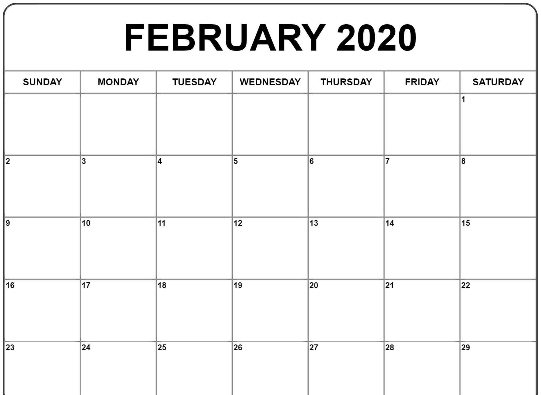 Free Printable February 2020 Blank Calendar Templates Download In