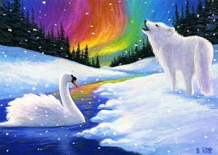 Lupo polare e Swan - paesaggio, fiume, nord Luce, neve, pittura, opere d'arte