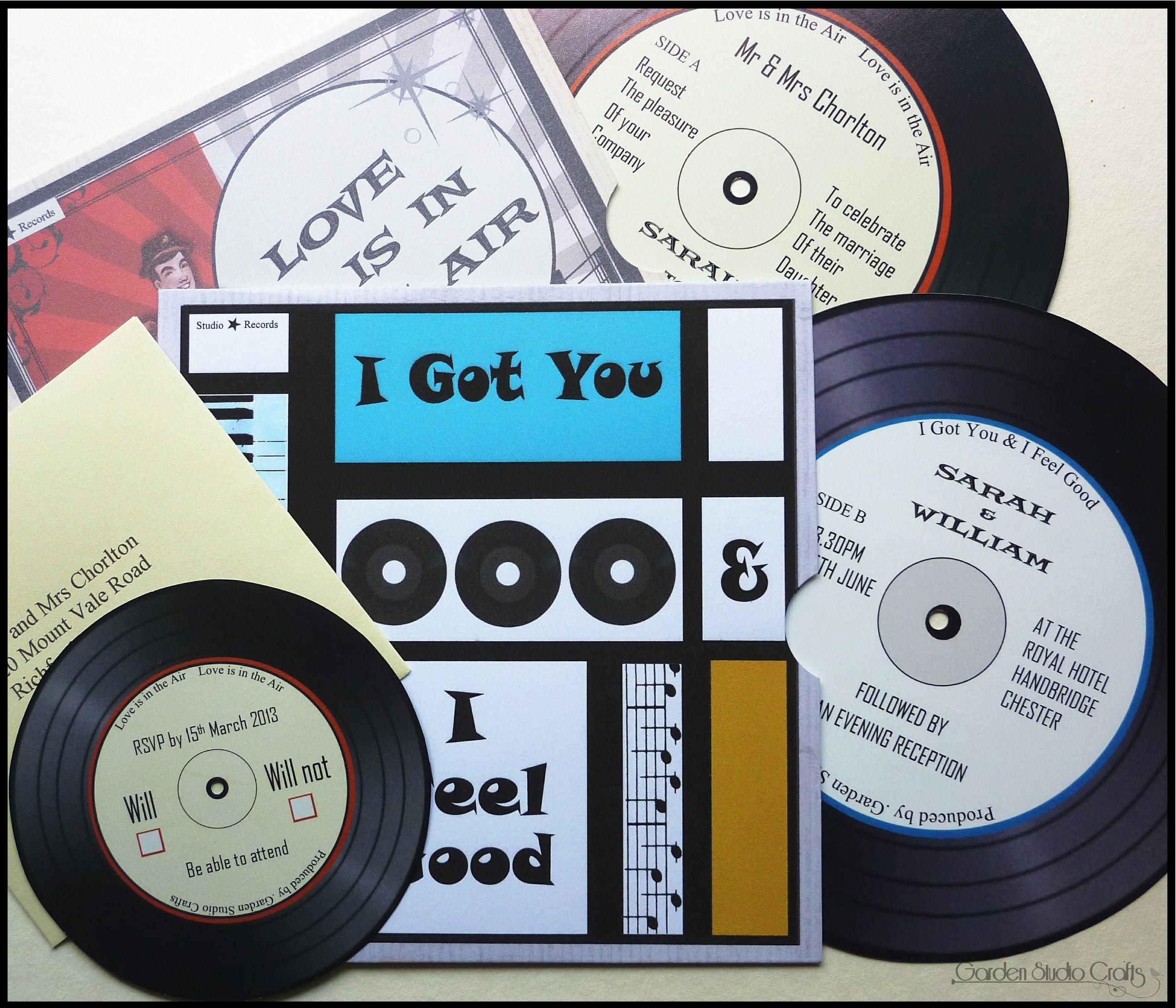 Record wedding invitation, comes with mini record RSVP & printed ...
