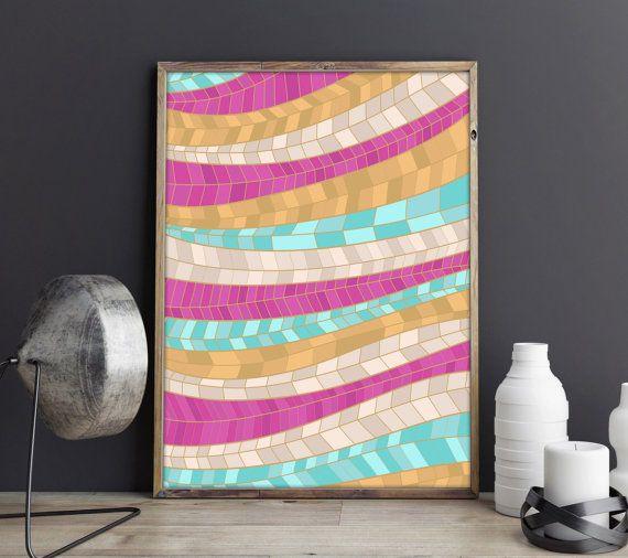 Geometric Prints, Geometric Abstract Print, Colorful Print, Gold Print, Modern Art, Summer Print, Láminas, Laminas Decorativas, Mint, Pink