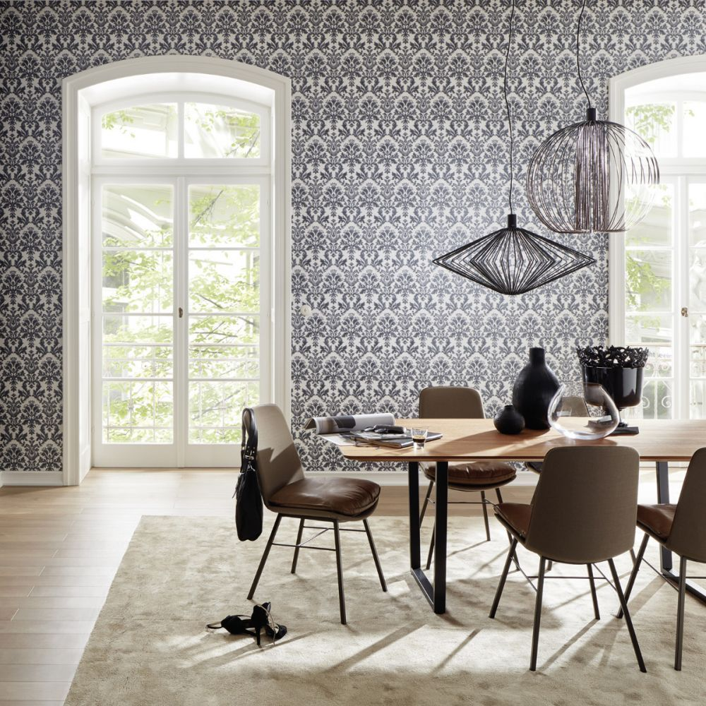 Black, Cream and Silver Textured Vinyl Damask Wallpaper P
