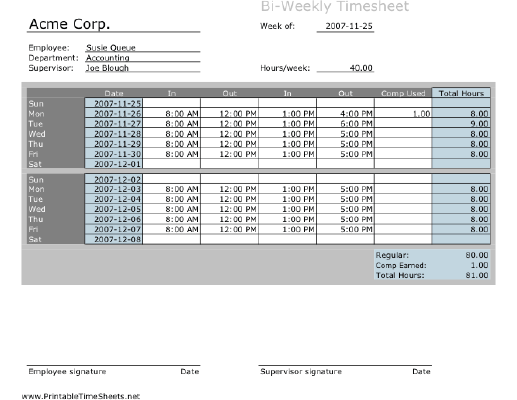 Biweekly Timesheet with comp time calculation Printable Time Sheets ...
