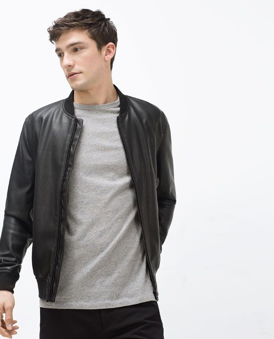 Image 2 Of Faux Leather Bomber Jacket From Zara Men S Fashion In