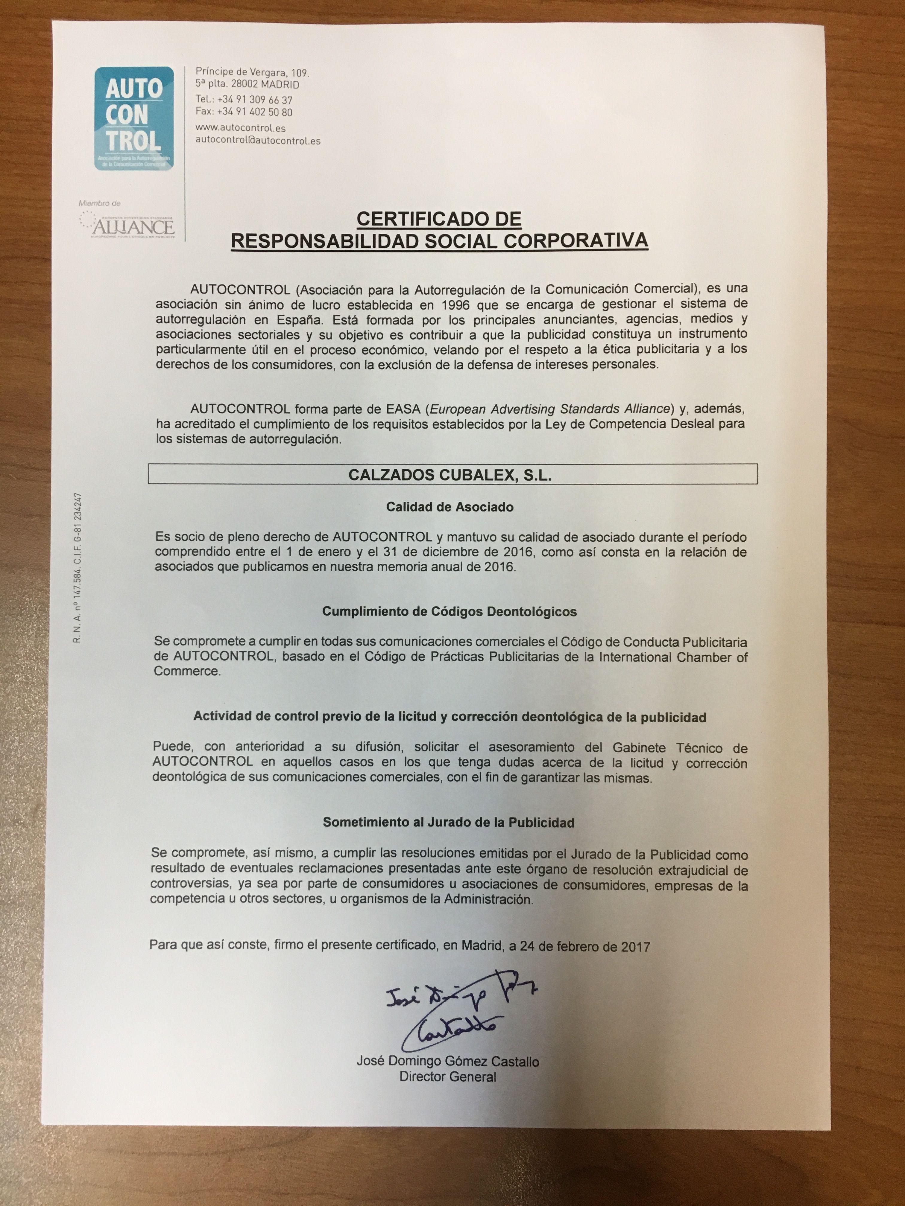 Autocontrol:certificado de responsabilidad social corporativa