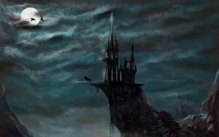Full moon - halloween, black, sky, blue, dark, full, bat, moon, fantasy, castle