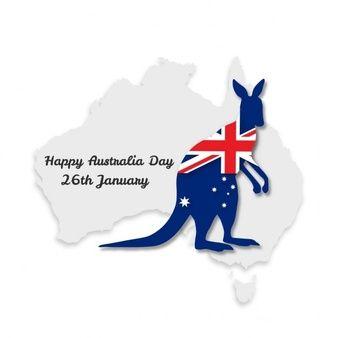 Diseno Con Bandera De Australia El Mapa Y Un Canguro Para El Dia De Australia Australia Day