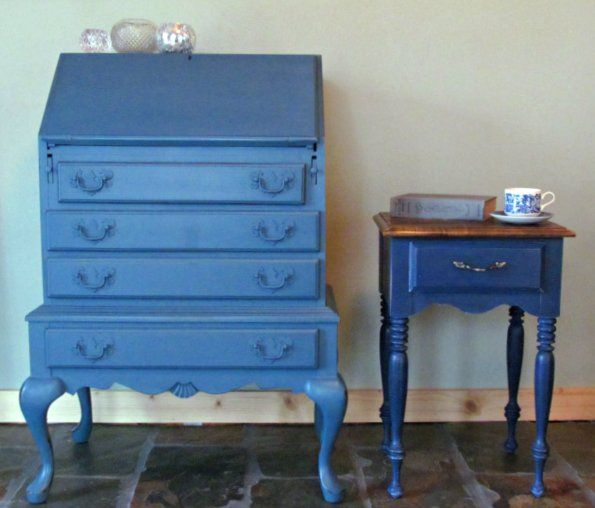Aubusson Blue on the left, Napoleon Blue on right